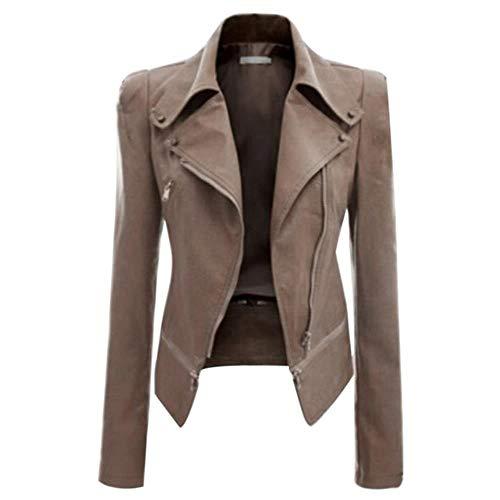 HSDFKD Otoño Slim Fit Negro Mujer Señoras PU Chaqueta De Cuero Flight Coat Zip Up Biker Casual Outfits 5XL, Light Khaki, XXXL