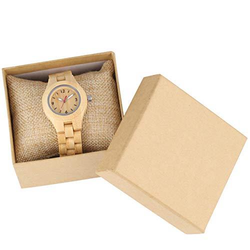 PLUIEX Reloj de Madera Reloj de Madera Retro para Mujer Relojes de Cuarzo analógicos Luminosos Reloj para Mujer Exquisitas señoras Relojes con Banda de Madera CompletaLujo, bambú con Caja