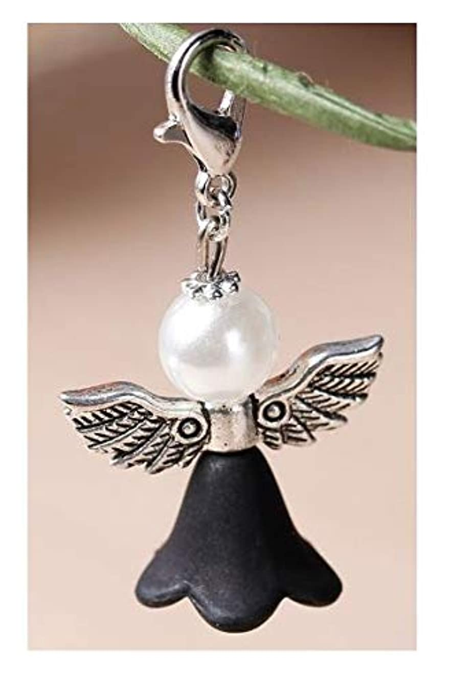 Lovely Guardian Angel Charm with Faux Pearl Head, Silver Wings & Black Dress - Embellish Your Purse, Also for DIY Arts & Craft Charm, Pendant, Backpack, KandyCharmz 247
