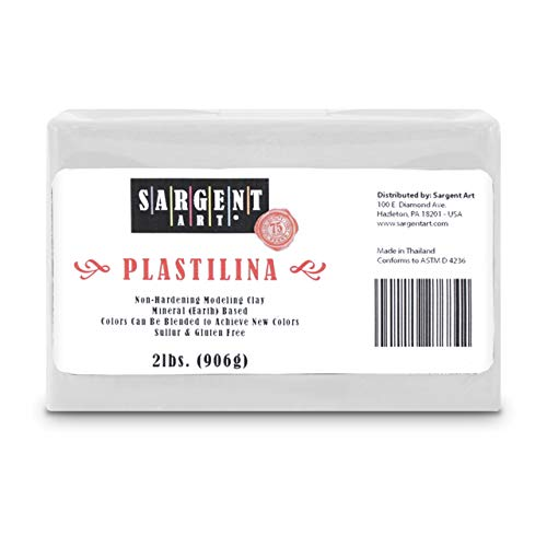 Sargent Art Plastilina Modeling Clay, 2-Pound, White (Packaging may vary)
