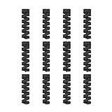 12 Unidades Protector de Cable Espiral - para Cables Lightning iPhone y Macbook, Tipo C, Micro USB, Ethernet, Cargador, Auriculares, Ratón, Teclado - Hecho en Silicona Flexible - Universal - Negro