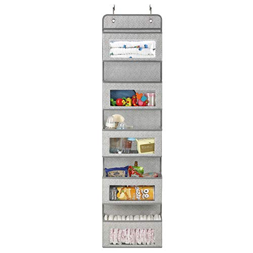 Magicfly Organizador para Puerta con 5 Compartimientos, Organizador Vertical del Tipo Bolsillo para Colgar en la Puerta, Almacenaje de Juguetes, Pañales, Toallas, etc, Gris Claro