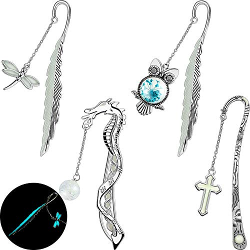 4 Pieces Luminous Bookmarks Metal Luminous Bookmarks Glow in The Dark Dragonflies Owls Cross 3D Feather Vintage Pendant Bookmark Reading Page Marker for Reader, Book Lover, Kid, Women