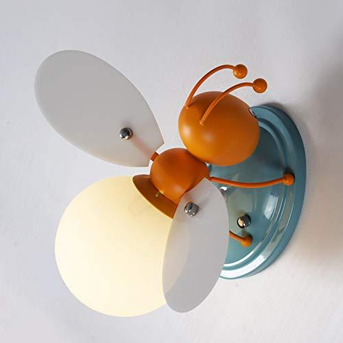 Lámpara de Pared Para Niños, Lámpara de Pared de Abeja Naranja, Luci de Noche Para Dormitorio de Niño y Niña, Luz de Habitación Infantil de Dibujos Animados Creativos, E27 MáX. Luz de Techo 40w,