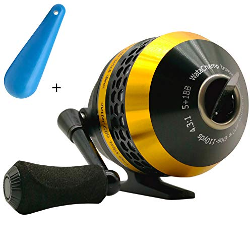 WataChamp Bees Spincast Fishing ReelHigh Speed 43:1Perfect Palming SizeSSDStainless Steel Ball Bearings Reversible Handle for Left/Right Retrieve with 6lbs Monofilament Line BeesYellow