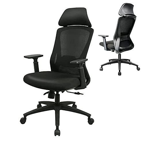 BYRORAS Ergonomic Desk Swivel Chair - High Back Home Office Chair with Adjustable Armrest, Wide Headrest, Lumbar Support, Tilt Function & Thick Seat Cushion - Comfy Tall Computer Chair (Black)