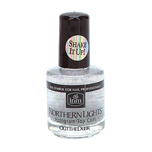 INM Northern Lights Silver Hologram Top Coat, Fast Drying, 1/2 Ounce (1-Unit)