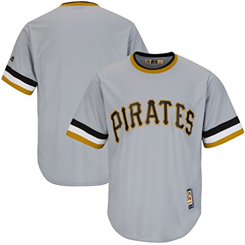 VF Pittsburgh Pirates MLB Mens Majestic Cool Base Cooperstown Jersey Gray Big & Tall Sizes (2XL)