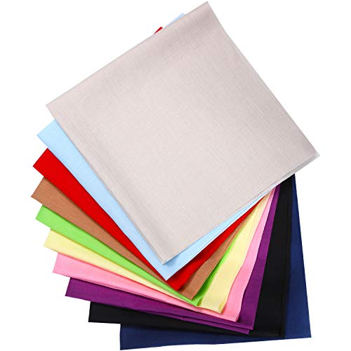 10 Pieces 20 x 20 Inch Solid Cotton Fabric Multi-Colors Fabric Patchwork Cotton Mixed Squares Bundle DIY Craft Quilting Fabric for DIY Craft (Multiple Colors)