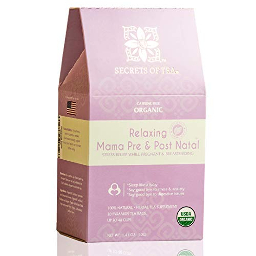 Relaxing Mama Tea | Pregnancy Tea for Anxiety Relief | Safe While Breastfeeding USDA Organic Stress Relief Tea, Helps with Better Sleep- 20 Sachets