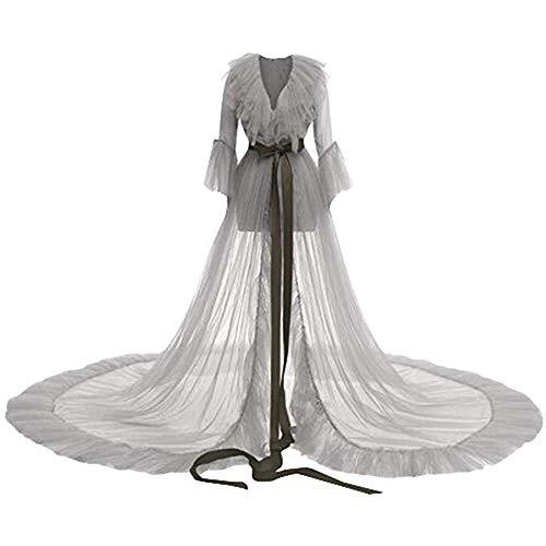Damen Luxus Lingerie - Transparente Dessous mit Gürtel Bodenlang Lingerie One-Piece Nachtwäsche Unterwäsche