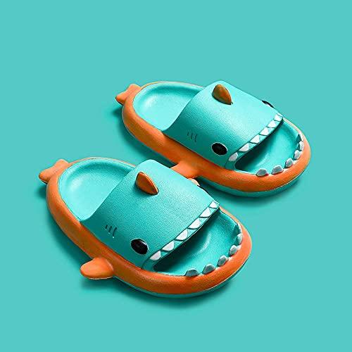 Chaussons Peluche Adulte,Shippers Enfants De Shark Trois-Dimensions Troisimensions, Mission D'éTé BéBé Baby-Enfant Anti-Skid Soft Soft Beach Beach Sandales De Salle De Bain-Long (220mm / 8,66 ')_vert
