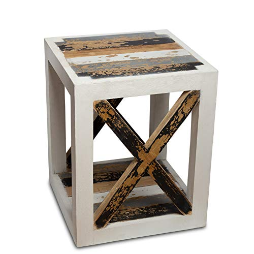 NaRoom Beistelltisch Holz Vintage 40x40 cm Nachttisch Couchtisch Ablagetisch Wohnzimmertisch Pflanzenhocker Blumenhocker Shabby Chic Modern Design