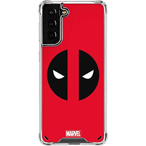Skinit Clear Phone Case Compatible with Galaxy S21 Plus 5G - Officially Licensed Marvel Deadpool Logo Red Design