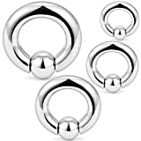 Hoeudjo PA Ring Surgical Steel Captive Bead Rings Spring Action BCR Monster Screwball Rings Pierced Body Jewelry Women Men 2G 4G 6G 8G 4 Pieces 1#