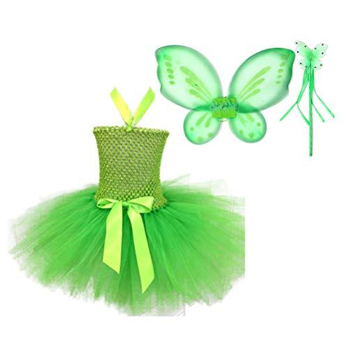 Amosfun Disfraz de Princesa Hada para Nias con Alas Tutu Varita St. Accesorios para Fiestas Patricks Talla S (80-90) (Verde)