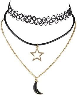 Lux Accessories Women's Black Classic Celestial Moon Galaxy Alien Choker Collar Necklace 3Pc Set