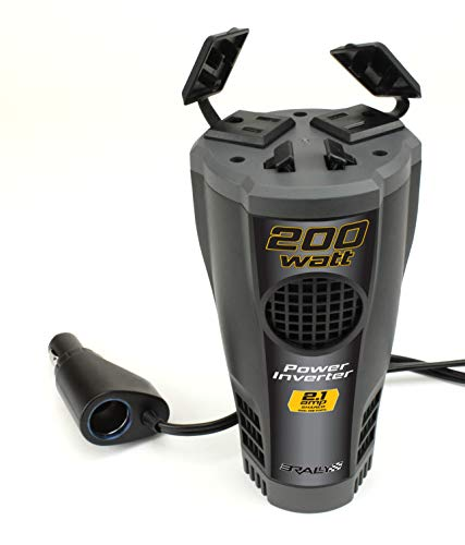 Rally 200 Watt Power Inverter with USB Port, Fits Conveniently in Cup Holder, with Dual USB Ports and 120 VAC Outlets (7413)