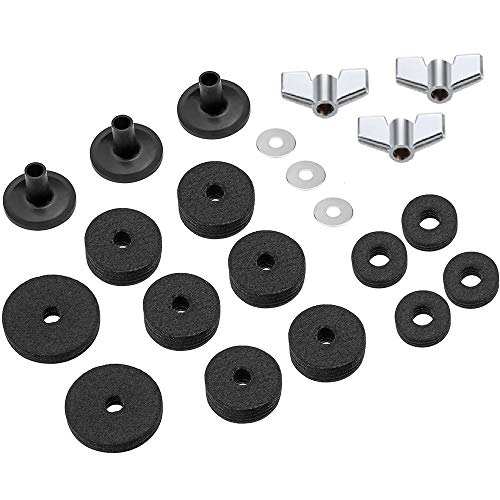 MUPOO 21PCS Cymbal Replacement Accessories, Cymbal Felts Hi-Hat Clutch Felt Hi Hat Cup, Cymbal Sleeves with Base Wing Nuts & Washer