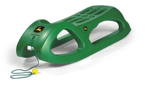 Rolly Toys 200160 - rollySnow Cruiser John Deere (für Kinder ab3 Jahren, Stahlschienen, mit Zugschnur, stabile Bauform)