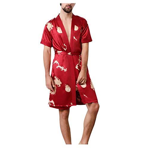 Herren Satin Silk Nachtwäsche Boxershorts Kurz Pyjama Bottom Locker Unterhosen Unterwäsche,Nachtwäsche Pyjamahose verstellbarem Elastik-Bund Taschen Schlafen Yoga Sport Freizeit