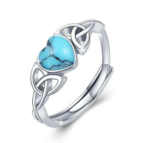Turquoise Rings 925 Sterling Silver Celtic Trinity Knot Adjustable Rings Irish Jewelry Gifts for Women Promise rings Girls