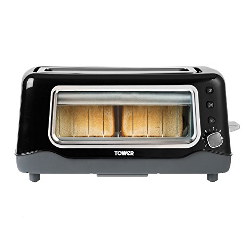 Tower 2-Slice Long Slot Glass Toaster with Variable Browning Control, Defrost, Reheat and Cancel Settings, Removable Glass Screen and Crumb Tray, 1100 W, Black