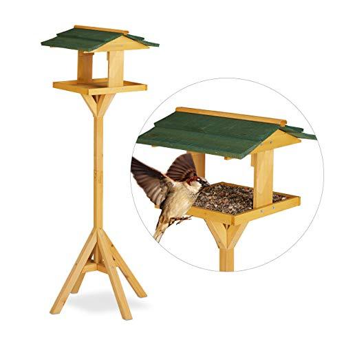 Relaxdays, vert, Abreuvoir, Maisonnette oiseau sur pied pour jardin et balcon, grosse mangeoire,117cm, nature Adulte unisexe, 117 x 34 x 36 cm