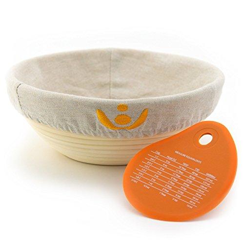 Allprettyall 9 inch Banneton Bread Proofing Basket, Sourdough Brotform Natural Rattan Basket for Bread Baking - Includes Cloth Liner & Premium Dough Scraper