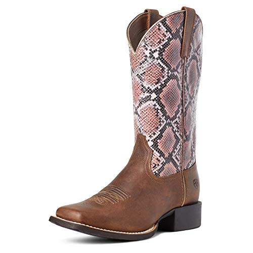 ARIAT Round Up Wide Square Toe H2O Tan Bomber/Pink Snake 6.5 B (M)