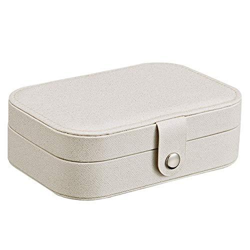 LNYJ Joyas Caja de Almacenamiento de Viajes Joyas Caja de Almacenamiento Multi-función de la Caja de la joyería Anillo de niña Pendientes Ajustables (Color : Blanco)