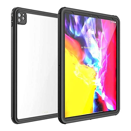 """SaharaCase Water-Resistant Case for iPad Pro 12.9"""" (4th Gen 2020) [Shockproof Bumper] Rugged Protection Antislip Grip Transparent - Clear Black"""