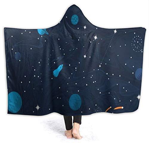 HARXISE Manta con Capucha,Cosmic Star Start Adventure Space Flat Planetas Concepto Estrellas Startup Satellite Design Cosmos UFO,Suave Siesta ponible Mantas de Viaje/Vacaciones/Casual 60x50