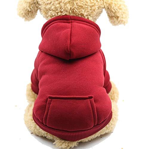 Abrigo para Mascotas, Ropa, Moda y Abrigo. Ropa de Perro Pequeño Perro Teddy Bichon Vestido de Verano Pomeranian Puppy Pet Cat Cat Fin Thin Chalt Puppies Summer Otoño (Color : Red, Size : Medium)