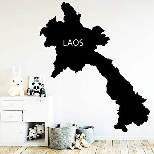 Muursticker Decal Creatieve kaart Laos Stickers Afneembare Selfie Behang Kinderen Kamer Woonkamer Muurdecoratie Zwart 30Cmx35Cm