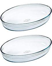 Pyrex O'Cuisine - Juego de 2 asadores ovalados para horno (30 x 21 cm, 2 unidades), transparente