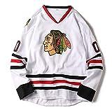 HP-YSH Camiseta de los Jerseys del Hockey de los Chicago Blackhawks, Griswold # 00, Sudaderas de los Hombres de la NHL, Ropa de la Camiseta Blanca
