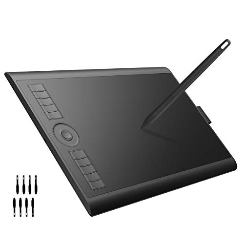 GAOMON M10K2018 Graphic Drawing Pen Tablet with 8 Replacement Nibs 8192 Battery-Free Stylus -10 x 6.25 Inches