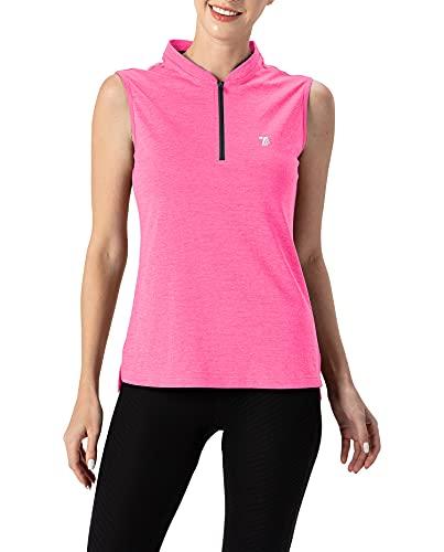 YSENTO Damen Sport T-Shirt Ärmelloses Activewear Sportshirt Schnell Trocken Sommer Laufshirt Fitness Gym Tanktop(Rose rot,L)
