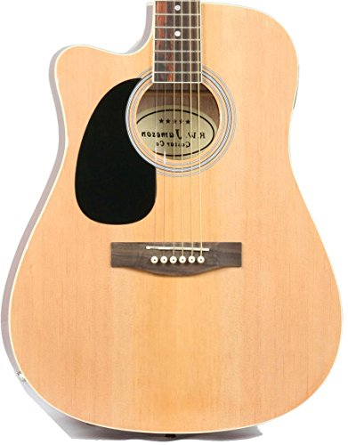 Jameson Guitars Full Size Thinline Acoustic Electric Guitar with Free Gig Bag Case & Picks Natural Left Handed