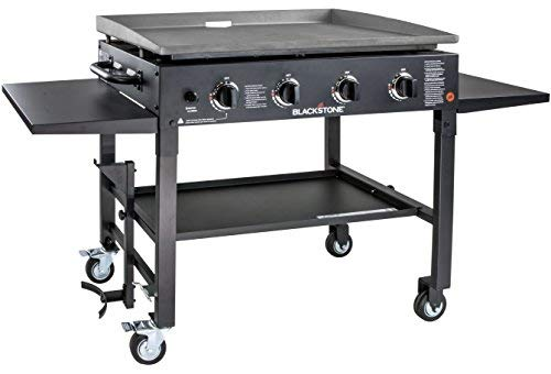 "Blackstone 36 Inch Gas Griddle Cooking Station 4 Burner Flat Top Gas Grill Propane Fuelled Restaurant Grade Professional 36"" Outdoor Griddle Station with Side Shelf (1554) (Improved( Black))"