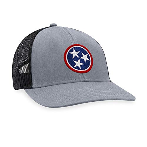 Tennessee Hat – TN Flag Trucker Hat Baseball Cap Snapback Golf Hat (Grey/Black)