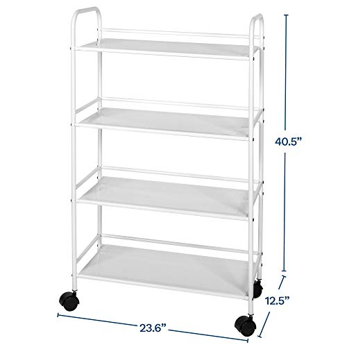 Richards Homewares RollingCart White Shelves with Wheels with Heavy Duty Metal Frame Supports 30 lbs per Tier - Utility Storage Carts Organizer with 4Shelves, 4