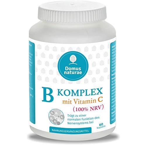Vitamin B Komplex Hochdosiert (100% NRV) + Vitamin C | 60 Kapseln ( keine Tabletten ) | Alle 8 B Vitamine B1 B2 B3 B5 B6 B7 (Biotin) B9 (Folsäure) B12 - Laborgeprüft ohne unerwünschte Zusätze