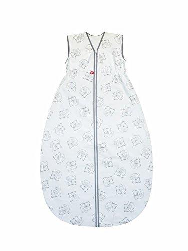 Linden 318453 Sommerschlafsack mit Klett Teddybär, 130/110 cm, grau