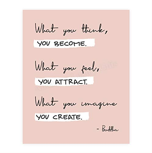 Buddha-'What You Think You Become' Spiritual Quotes Wall Art- 8 x 10' Modern Inspirational Wall Print-Ready to Frame. Positive Home-Studio-Office Decor for Mindfulness. Great Zen Gift & Reminder!