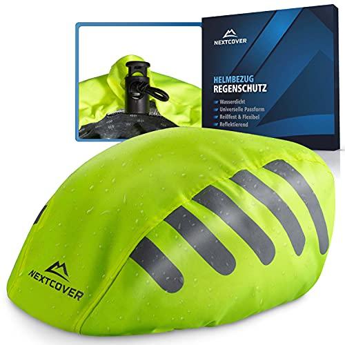 Nextcover® Universal Fahrradhelm Regenschutz I 100% Wind- & Wasserdichter Helmbezug I Reflektierende Fahrrad Regenhaube passend für alle Helme I Helm Überzug