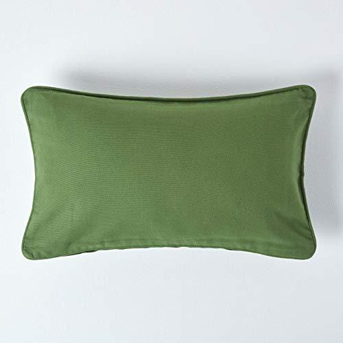 Homescapes - Copricuscino Decorativo Plain Colour, con Chiusura Lampo, 100% Puro Cotone, 100% Cotone, Verde Oliva, 30 x 50 cm