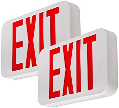 LFI Lights 2 Pack UL Certified Hardwired Red LED Exit Sign Modern Design Battery Backup Emergency product image