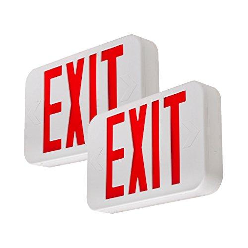 LFI Lights - 2 Pack - UL Certified - Hardwired Red LED Exit Sign, Modern Design - Battery Backup - Emergency Fire Safety - UL924 - LEDRBBJRx2